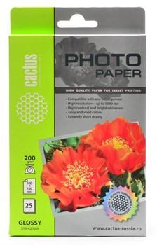 Фотобумага Cactus CS-GA620025 A6, 200г/м2, 25л., белый глянцевое для струйной печати - фото 4511