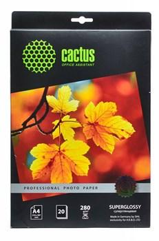 Фотобумага Cactus Prof CS-HGA428020 A4, 280г/м2, 20л., белый глянцевое для струйной печати - фото 4532