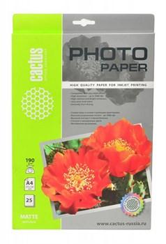 Фотобумага матовая Cactus CS-MA419025 A4, 190г/м2, 25л. - фото 4550