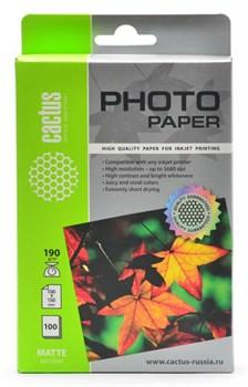 Фотобумага Cactus CS-MA6190100 10x15, 190г/м2, 100л., белый матовое для струйной печати - фото 4557