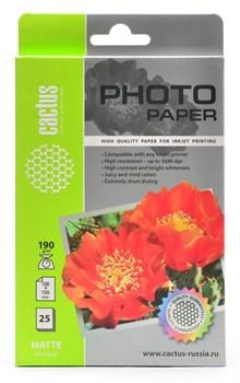 Фотобумага матовая Cactus CS-MA619025 10x15, 190г/м2, 25л. - фото 4559