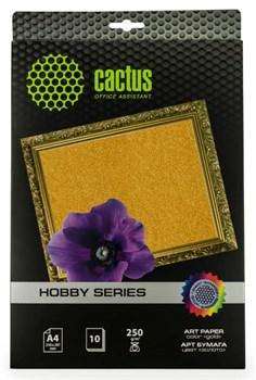 Фотобумага Cactus CS-DA425010G A4, 250г/м2, 10л, золото для струйной печати - фото 4598