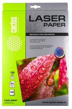 Фотобумага Cactus CS-LPA4100100 A4, 100г/м2, 100л., белый глянцевое для лазерной печати - фото 4602