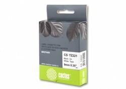 Лента Cactus CS-TZ221 (TZE-221) черный для принтеров P-touch PT-1010, PT-1280, PT-1280VP, PT-2700VP (9 мм x 8 м) - фото 4612