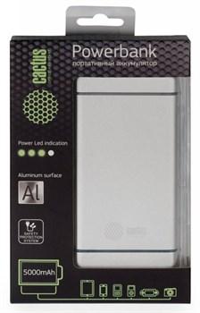 Мобильный аккумулятор Cactus CS-PBMS028-5000AL 5000mAh 2.1A серебристый - фото 4687
