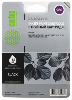 Струйный картридж Cactus CS-LC980BK (LC-980BK) черный для принтеров DCP-145C, DCP-163C, DCP-165C, DCP-167C, DCP-195C, DCP-197C, DCP-365CN, DCP-375CW, DCP-377CW, MFC-250C, MFC-255CW, MFC-257CW, MFC-290C, MFC-295CN, MFC-297C (300 стр.) - фото 4712