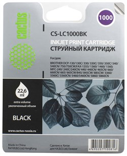 Струйный картридж Cactus CS-LC1000BK (LC-1000BK) черный для принтеров DCP-130C, DCP-330C, DCP-350C, DCP-357C, DCP-540CN, DCP-560CN, DCP-750CW, DCP-770CW, MFC-240C, MFC-440CN, MFC-465CN, MFC-660CN, MFC-680CN, MFC-845CW, MFC-885CW, MFC-3360C, MFC-5460CN, M - фото 4727