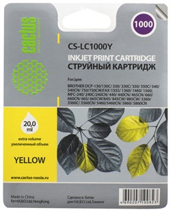 Струйный картридж Cactus CS-LC1000Y (LC1000Y) желтый для принтеров Brother DCP-130c, 330c, 350c, 357c, 540cn, 560cn, 750cw, 770cw, MFC-240c, 440cn, 465cn, 660cn, 680cn, 845cw, 885cw, 3360c, 5460cn (20 мл) - фото 4737