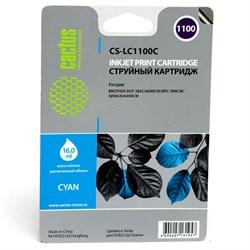 Струйный картридж Cactus CS-LC1100C (LC1100C) голубой для принтеров Brother DCP-185c, 383c, 385c, 387c, 395cn, 585cw, J715w, 6690cw, MFC-490cw, J615w, 790cw, 795cw, 990cw, 5490cn, 5890cn, 5895cw, 6490cw (16 мл) - фото 4745