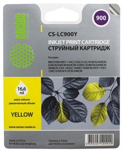 Струйный картридж Cactus CS-LC900Y (LC900Y) желтый для принтеров Brother DCP-110c, 115c, 117c, 120c, 310cn, 315cn, 340cw, MFC-210c, 215c, 3240c, 3340cn, 410cn, 425cn, 5440cn, 5840cn, 620cn, 640cw (16,6 мл) - фото 4801