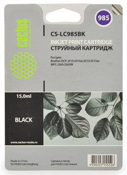 Струйный картридж Cactus CS-LC985BK (LC-985BK) черный для принтеров DCP-J125, DCP-J140W, DCP-J315W, DCP-J515W, MFC-J220, MFC-J265W, MFC-J410, MFC-J415W (300 стр.) - фото 4820