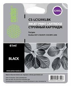 Струйный картридж Cactus CS-LC529XLBK (LC-529XLBK) черный для принтеров DCP-J100, DCP-J105, MFC-J203 (1300 стр.) - фото 4832