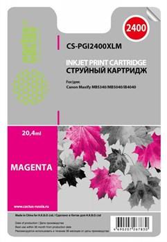 Струйный картридж Cactus CS-PGI2400XLM (PGI-2400XL M) пурпурный для Canon MAXIFY iB4040, iB4140, MB5040, MB5140, MB5340, MB5440 (1'755 стр.) - фото 4838