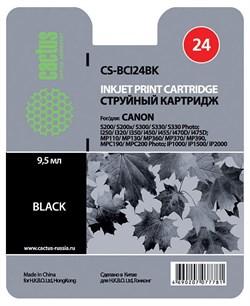 Струйный картридж Cactus CS-BCI24BK (BCI-24) черный для Canon BJ S330, i250, i255, i320, i350, i355, i450, i455, i470, i475, i475d, imageClass MP360, MP370, MP390, MPC190, MPC200, MultiPass C190, C200, F20, MP360, MP370 (9,2 мл) - фото 4840