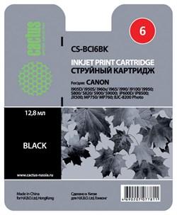 Струйный картридж Cactus CS-BCI6BK (BCI-6BK) черный для Canon i905d, i950s, i960x, i965, i990, i9100, i9950, S800, S820, S900, S9000, iP600d, iP8500, JX500, MP750, MP760, BJC8200 (270 стр.) - фото 4844