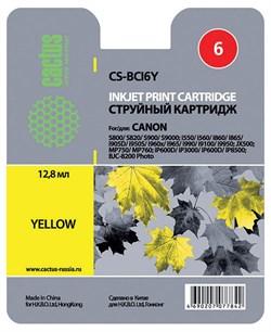 Струйный картридж Cactus CS-BCI6Y (BCI-6Y) желтый для Canon S800, S820, S900, S9000, i550, i560, i860, i865, i905d, i950s, i960x, i965, i990, i9100, i9950, JX500, MP750, MP760, iP600d, iP3000, iP600d, iP8500, BJC8200 (270 стр.) - фото 4853