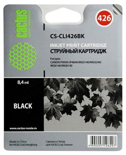 Струйный картридж Cactus CS-CLI426BK (CLI-426Bk) фото черный для принтеров Canon Pixma iP4840, iP4940, iX6540, MG5140, MG5240, MG5340, MG6140, MG6240, MG8140, MG8240, MX884 (540 стр.) - фото 4865