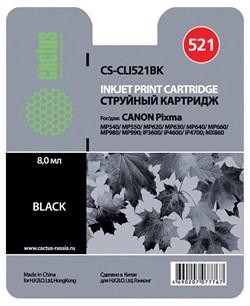 Струйный картридж Cactus CS-CLI521BK (CLI-521BK) фото черный для принтеров Canon Pixma iP3600, iP4600, iP4700, MP540, MP540x, MP550, MP560, MP620, MP620B, MP630, MP640, MP660, MP980, MP990, MX860, MX870 (540 стр.) - фото 4881