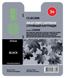 Струйный картридж Cactus CS-BCI3BK (BCI-3Bk) черный для Canon BJ i550, i560, i6500, i850, S400, S450, S500, S520,S530, S600, S630, S750, BJC 3000, 6000, 6100, 6200, Pixma iP3000, iP4000, iP5000, MP760, SmartBase MP700, MPC400 (23,6 мл) - фото 4962