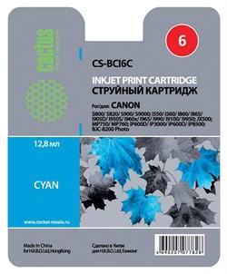Струйный картридж Cactus CS-BCI6C (4706A002) голубой для Canon S800, S820, S900, S9000, i550, i560, i860, i865, i905D, i950S, i960x, i965, i990, i9100, i9950, JX500, MP750, MP760, iP600D, iP3000, iP600D, iP8500, BJC-8200 (270 стр.) - фото 4966