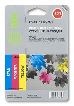 Струйный картридж Cactus CS-CLI521C/M/Y (CLI-521 CMY) цветной для Canon Pixma iP3600, iP4600, iP4600x, iP4700, MP540, MP540x, MP550, MP560, MP620, MP620b, MP630, MP640, MP660, MP980, MP990, MX860, MX870 (320 стр.) - фото 4976