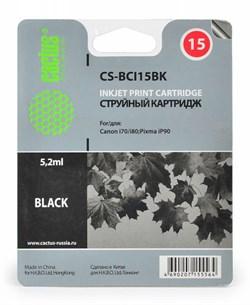 Струйный картридж Cactus CS-BCI15BK (8190A002) черный для Canon i 70, 80; Canon Pixma iP90, iP90v; Canon Pixus 50, 50i, 80, 80i (185 стр.) - фото 5049