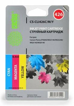 Струйный картридж Cactus CS-CLI426C/M/Y (4557B006) цветной для Canon Pixma iP4840, iP4940, iX6540, MG5140, MG5240, MG5340, MG6140, MG6240, MG8140, MG8240, MX714, MX884, MX894 (450 стр.) - фото 5052