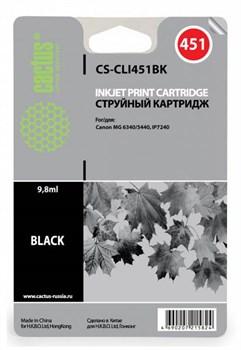 Струйный картридж Cactus CS-CLI451BK (6523B001) черный для Canon Pixma iP6840, iP7240, iP8740, iX6840, MG5440, MG5540, MG5640, MG6340, MG6440, MG6640, MG7140, MG7540, MX724, MX924 (380 стр.) - фото 5054