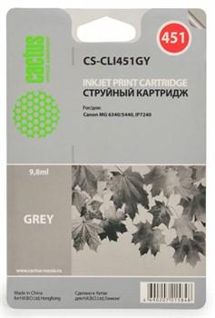 Струйный картридж Cactus CS-CLI451GY (CLI-451GY) серый для принтеров Canon Pixma MG6340, MG7540 (130 стр.) - фото 5057