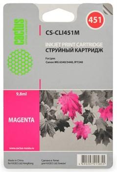 Струйный картридж Cactus CS-CLI451M (CLI-451M) пурпурный для принтеров Canon Pixma iP7240, MG5440, MG6340, MG7540 (130 стр.) - фото 5059