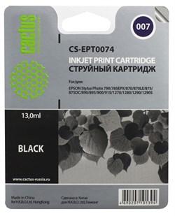 Струйный картридж Cactus CS-EPT0074 (C13T00740210) черный для принтеров Epson Stylus Photo 790, 870, 875DC, 890, 895, 895EX, 900, 915, 1270, 1290 (540 стр.) - фото 5067