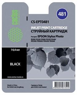 Струйный картридж Cactus CS-EPT0481 (C13T04814010) черный для принтеров Epson Stylus Photo R200, R220, R300, R320, R340, RX500, RX600, RX620, RX640 (450 стр.) - фото 5075