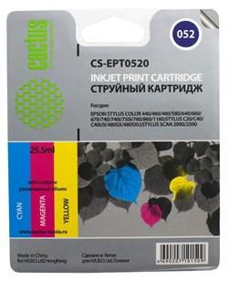 Струйный картридж Cactus CS-EPT0520 (C13T05204010) цветной для принтеров Epson Stylus Color 400, 440, 460, 500, 600, 640, 660, 670, 740, 760, 800, 850, 860, 1160, 1520, Scan 2000, 2500 (300 стр.) - фото 5098