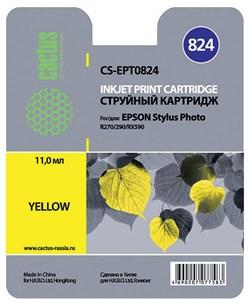 Струйный картридж Cactus CS-EPT0824 (T0824) желтый для принтеров Epson Stylus Photo R270, R290, R295, R390, RX590, RX610, RX690, T50, T59, TX659, TX800fw (13,8 мл.) - фото 5165