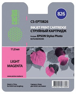 Струйный картридж Cactus CS-EPT0826 (C13T11264A10) светло-пурпурный для принтеров Epson Stylus Photo R270, R290, R295, R390, RX590, RX610, RX690, T50, T59, TX659, TX800FW (13,8 мл.) - фото 5173