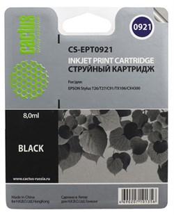 Струйный картридж Cactus CS-EPT0921 (C13T09214A10) черный для принтеров Epson Stylus C91, C240, CX4300, T26, T27, TX106, TX109, TX117, TX119 (280 стр.) - фото 5177