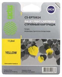 Струйный картридж Cactus CS-EPT0924 (C13T10844A10) желтый для принтеров Epson Stylus C91, C240, CX4300, T26, T27, TX106, TX109, TX117, TX119 (280 стр.) - фото 5189