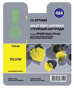 Струйный картридж Cactus CS-EPT0484 (T0484) желтый для принтеров Epson Stylus Photo R200, R220, R300, R340, RX500, RX600, RX620, RX640 (14,4 мл.) - фото 5220