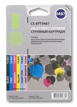 Струйный картридж Cactus CS-EPT0487 (T0487) набор для принтеров Epson Stylus Photo R200, R220, R300, R340, RX500, RX600, RX620, RX640 (88 мл.) - фото 5224