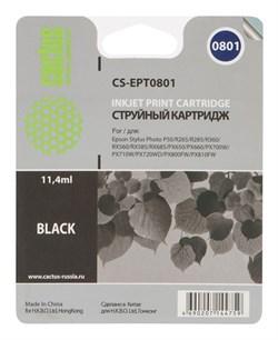 Струйный картридж Cactus CS-EPT0801 (C13T08014011) черный для принтеров Epson Stylus Photo P50, PX650, PX660, PX700, PX700W, PX710, PX710W, PX720, PX720WD, PX800, PX800FW, PX810, PX810FW, PX820, PX820FWD, R265, R285, R360, RX560, RX585, RX685 (220 стр.) - фото 5288
