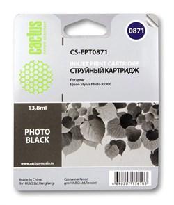 Струйный картридж Cactus CS-EPT0871 (C13T08714010) черный для принтеров Epson Stylus Photo R1900 (13.8 мл) - фото 5321