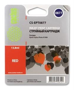 Струйный картридж Cactus CS-EPT0877 (C13T08774010) красный для принтеров Epson Stylus Photo R1900 (13.8 мл) - фото 5337