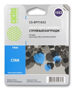 Струйный картридж Cactus CS-EPT1032 (T1032) голубой для принтеров Epson Stylus TX550, Stylus Office T30, T40, T1100, TX510, TX600 (14 мл.) - фото 5352