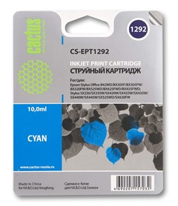 Струйный картридж Cactus CS-EPT1292 (C13T12924011) голубой для принтеров Epson Stylus SX230, SX235W, SX420W, SX425W, SX430W, SX435W, SX440W, SX445W, SX525WD, SX535WD, Stylus Office B42WD, BX305F, BX320FW, BX625FWD, BX635FWD, WorkForce WF-3520DWF, WF-7015, - фото 5373