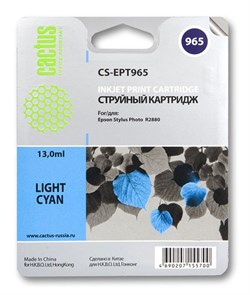 Струйный картридж Cactus CS-EPT965 (T0965) светло-голубой для принтеров Epson Stylus Photo R2880 (13 мл) - фото 5438