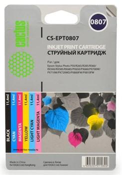 Струйный картридж Cactus CS-EPT0807 (T079A) набор для принтеров Epson Stylus Photo P50, PX650, PX660, PX700, PX710, PX720, PX800, PX810, PX820, R265, R285, R360, RX560, RX585, RX685 (6 x 11,4 мл) - фото 5458
