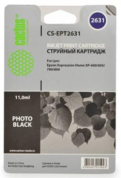 Струйный картридж Cactus CS-EPT2631 (26XL) фото-черный для принтеров Epson Expression Premium XP-600, XP-700, XP-800, XP-820 (11,6 мл.) - фото 5472