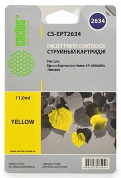 Струйный картридж Cactus CS-EPT2634 (C13T26344010) желтый для принтеров Epson Expression Premium XP-600, XP-700, XP-710, XP-800, XP-820 (11,6 мл) - фото 5478