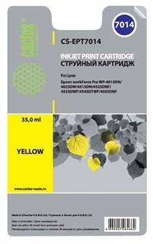 Струйный картридж Cactus CS-EPT7014 (C13T70144010) желтый для принтеров Epson WorkForce Pro WF-4015, WF-4020, WF-4025, WF-4095, WF-4515, WF-4525, WF-4535, WF-4545, WF-4595 (3400 стр.) - фото 5485