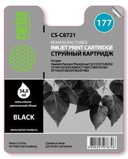 Струйный картридж Cactus CS-C8721 (177 Bk) черный для HP PhotoSmart 3100, 3210, 3213, 3310, 3313, C5183, C6100, C6183, C6200, C6283, C7183, C7200, C7280, C7283, C8183, D7100, D7160, D7163, D7300, D7363, D7463 (34 мл.) - фото 5505